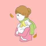 Cartoon cute Autumn woman hug cat vector.