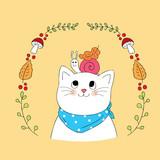 Cartoon cute Autumn cat and snail vector.