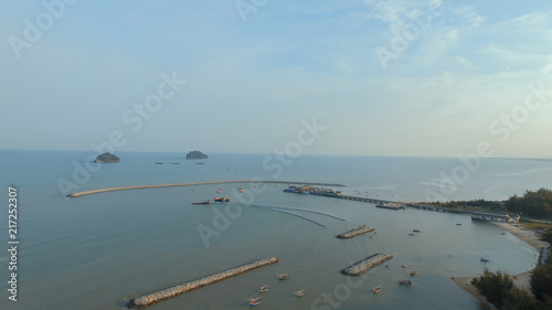 aerial view of klong warn harbor prachuap khiri khan southern of thailand