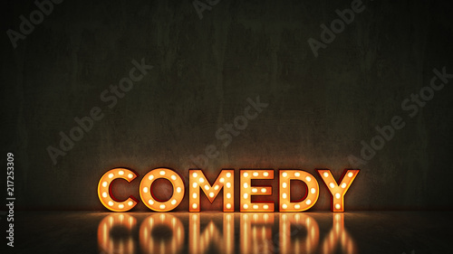 Neon Sign on Brick Wall background - comedy. 3d rendering - 217253309