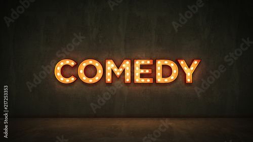Neon Sign on Brick Wall background - comedy. 3d rendering - 217253353