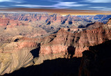 Grand Canyon Arizona with blue white and red sky