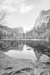 Monochrome view of lake in mountains