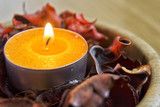 candle light with potpourri. spa and christmas decoration concept