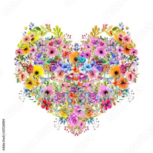 Canvas Reznik Цветочные красочные сердца на белом фоне