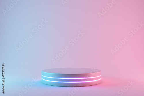 Blank product stand with neon lights on pastel colors background. 3d rendering © aanbetta