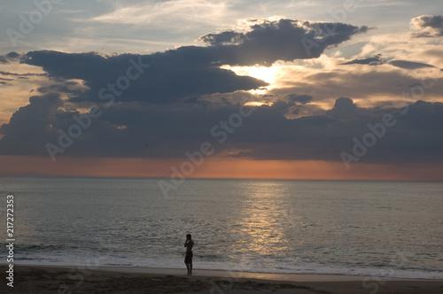 Foto Spatwand Strand Biarritz sunset 2