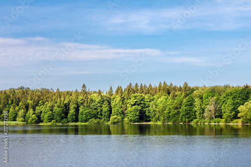 Canvas Zomer Summer landscape with pond, forest and blue sky
