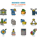 Business Icon Set, 12 icons for web design and vector illustration - 217275994