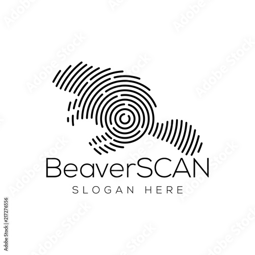 Beaver Scan Technology Logo Vector Element Animal Technology Logo