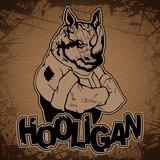 -hooligan-rhinoceros image on a wooden background.
