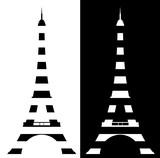 eiffel tower made of black and white stripes - symbol of France and Paris vector design set