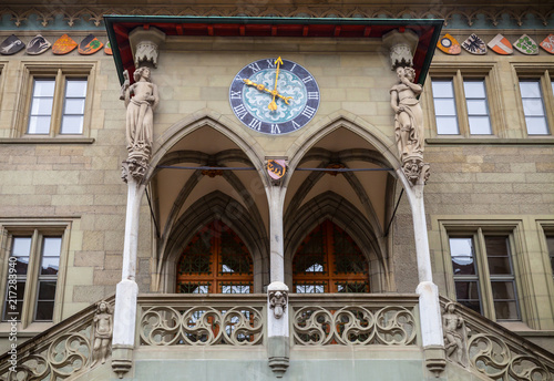 Bern Rathaus. Entrance to the town hall - 217283940