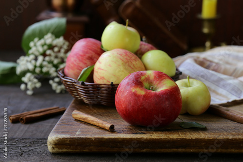 Foto Murales organic natural red apples on a wooden table