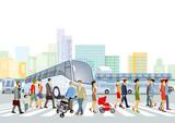 Öffentlicher Verkehr mit Fußgänger