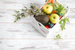 Leinwanddruck Bild - Zero Waste Home, Vegetable and fruits in white bag on wooden table.