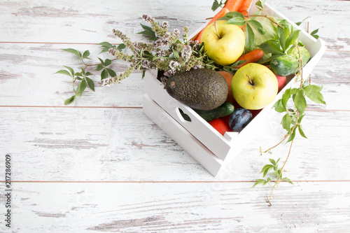 Leinwanddruck Bild Zero Waste Home, Vegetable and fruits in white bag on wooden table.