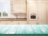Kitchen, background. Empty textured wooden table and kitchen window shelves blurred background - 217290910