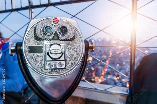 Binocular, viewfinder on the roof of the high building in New York. Observation point.