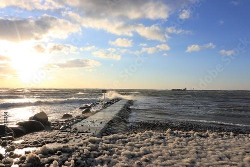 Aluminium Pier romantic winter seascape with strong storm at theBaltic Sea