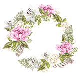 Beautiful Watercolor Wedding Wreath with roses, lily and peony flowers.  - 217311731