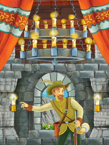 cartoon scene with beautiful boy - prince - in castle room - illustration for children - 217316158