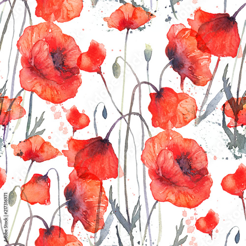 Watercolor seamless pattern with wild red poppies - 217316971