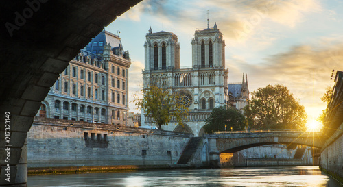 Wall mural Notre dame de Paris and Seine river in Paris, France