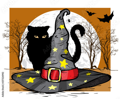 Kot i kapelusz czarodzieja. Koncepcja Halloween. Ilustracji wektorowych.