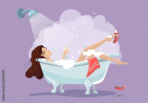 Sticker Woman relaxing in bathtub. Bath with foam isolated on background. Spa in bathroom interior. Vector illustration. Flat style design.