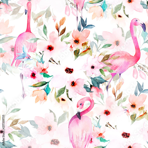Watercolor seamless pattern. Floral print with flamingo. - 217339755