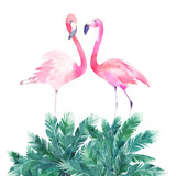 Couple pink flamingos. Watercolor print for invitation, birthday, celebration, greeting card