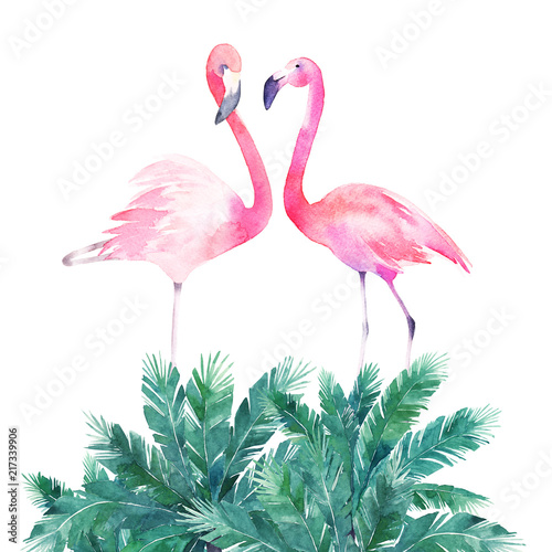 Couple pink flamingos. Watercolor print for invitation, birthday, celebration, greeting card - 217339906