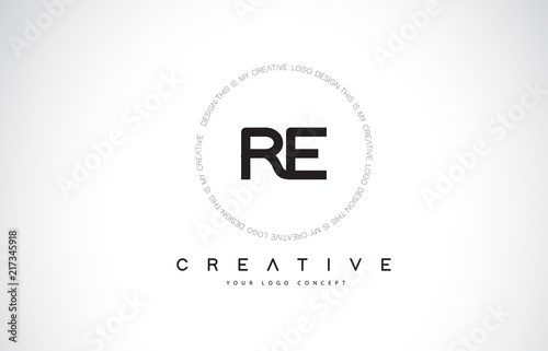 RE R E Logo Design with Black and White Creative Text Letter Vector.