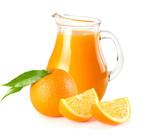 orange juice with orange slices and green leaf isolated on white background. juice in jug