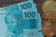 Quadro bitcoin and  Brazilian money