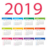 2019 year calendar - vector Illustration. Week starts on Sunday - 217357130