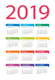 2019 year calendar - vector Illustration. Week starts on Sunday - 217357363