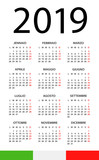 Calendar 2019 - illustration. Italian version - 217358313