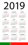 Calendar 2019 - illustration. Portuguese version - 217358779