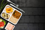 Lunchbox - Shredded beef with squash, brown rice, sweet potatoes and fried corn - 217359581
