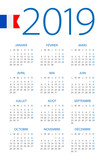 Calendar 2019 - illustration. French version - 217359703