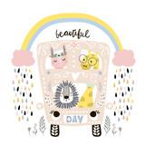 Cartoon bus with cute animals, rabbit girl, lion, giraffe print. Childish vector illustration great for kids apparel, nursery print,decoration - 217360540