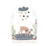 Creative deer in jar with floral wreath. Childish print for nursery, kids apparel,poster, postcard. Vector Illustration - 217360554