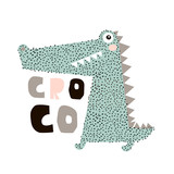 Cute cartoon crocodile print. Childish print for nursery, kids apparel,poster, postcard. Vector Illustration - 217360713