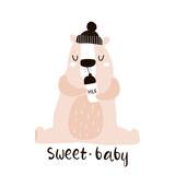 Cute little one bear drink milk print. Childish illustration for nursery, apparel, card, baby shower. Creative kids design - 217360725