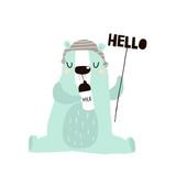 Cute little one bear drink milk print. Childish illustration for nursery, apparel, card, baby shower. Creative kids design - 217360734