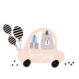 Hooray quote. Cute polar bear on cartoon car. Greeting card, posters, apparel - 217360742