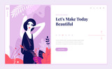 Web page design template for beauty, spa, wellness, natural products, cosmetics, body care, healthy life. Modern flat design vector illustration concept for website and mobile website development.  - 217360750