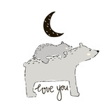 Cute hand drawn bear Mom with little one . Beautiful day quote. Childish print for nursery, kids apparel,poster, postcard. Vector Illustration - 217360758